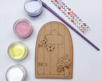 Craft Kit - Fairy Door, with 4 mini pots of paint, a brush and rhinestones to decorate