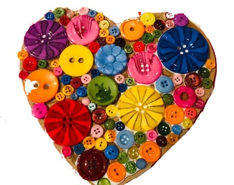 Craft Kit - Decorate a Wooden Heart/Star/Butterfly Kit, large, buttons, collage, paint, kids, adults