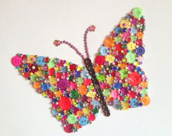 Craft Kit - Butterfly Button Canvas Kit with Template, diy, buttons, adult, child