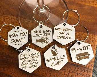 Wine Charms Friends TV Show Inspired