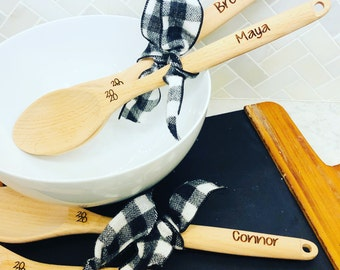 Custom Engraved  Wooden Mixing Spoon great for gift giving hostess, bakers, kids, and fun!