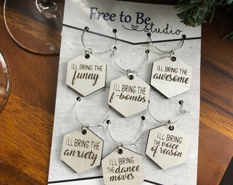 Hilarious Girls' Night/ Party/ Holiday Wine Charms