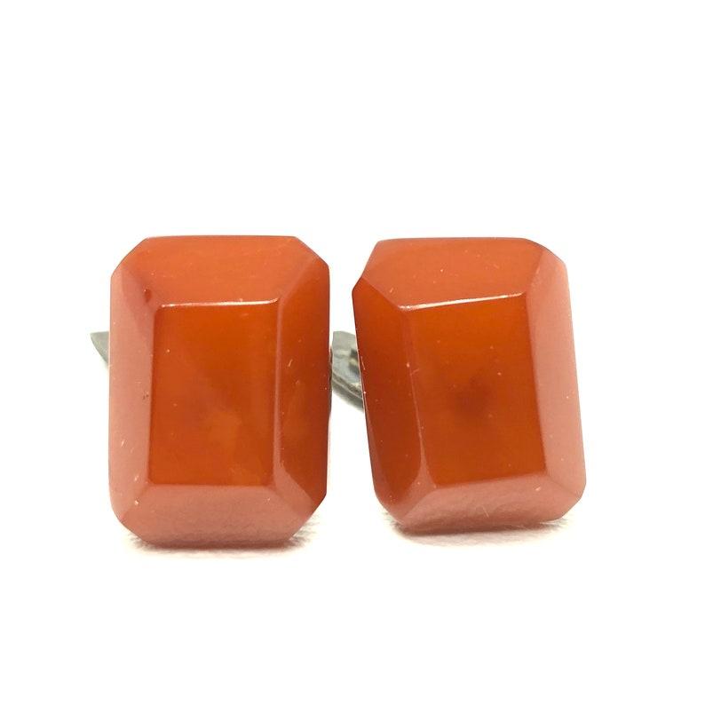 Amber Lever Back Cuff Links Vintage Amber Cufflinks Vintage 1930/'s Amber Rectangle Faceted Amber Cufflinks Signed MET