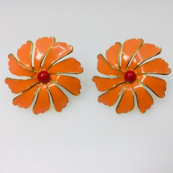 Vintage 1960's Orange Enamel Flower Power Clip On