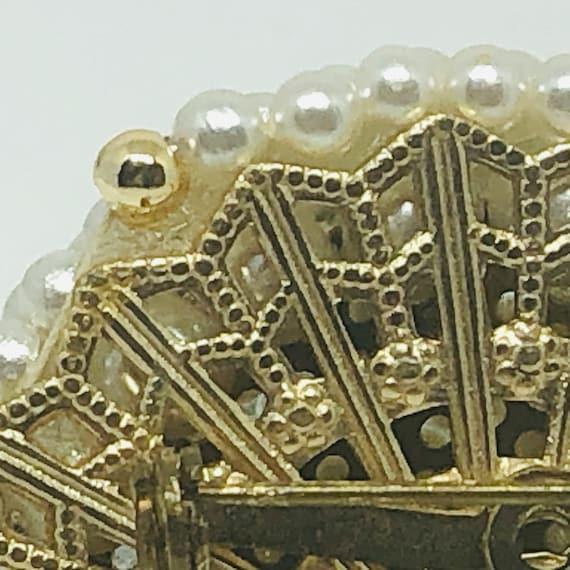 1950s Vintage Faux Spiral Pearl Rhinestone Brooch… - image 10