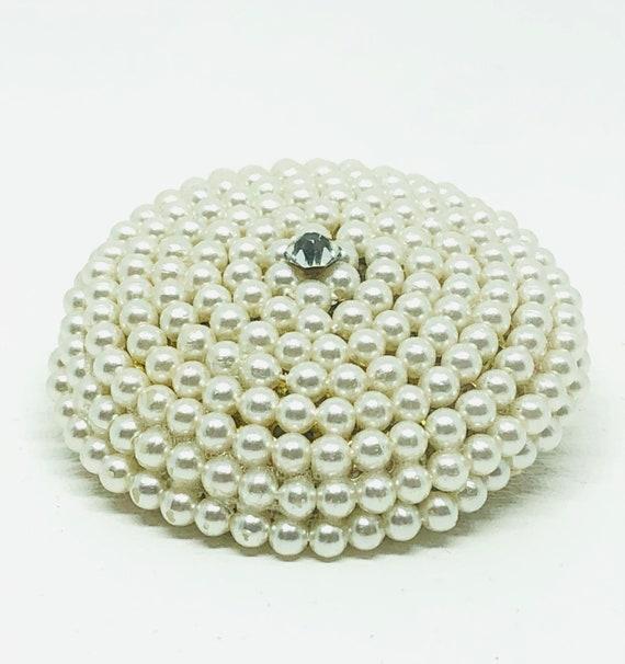 1950s Vintage Faux Spiral Pearl Rhinestone Brooch… - image 3