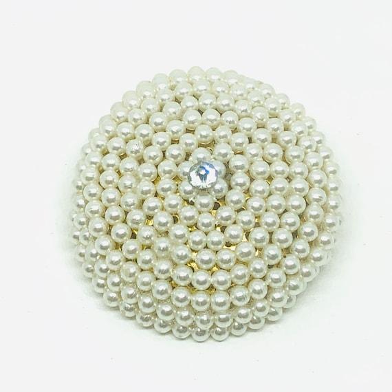 1950s Vintage Faux Spiral Pearl Rhinestone Brooch… - image 2