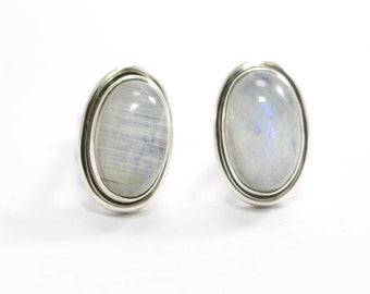 Blue moonstone cufflinks silver setting  Retro cabochon baby blue moonstone cufflinks  Vintage mens silver mesh blue moonstone cufflinks