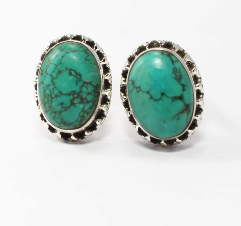 Original Turquoise 925 Sterling Silver Cufflink Oval Rectangular Mens Jewelery Cufflinks Natural Gemstone Cufflinks Afghanistan Turquoise