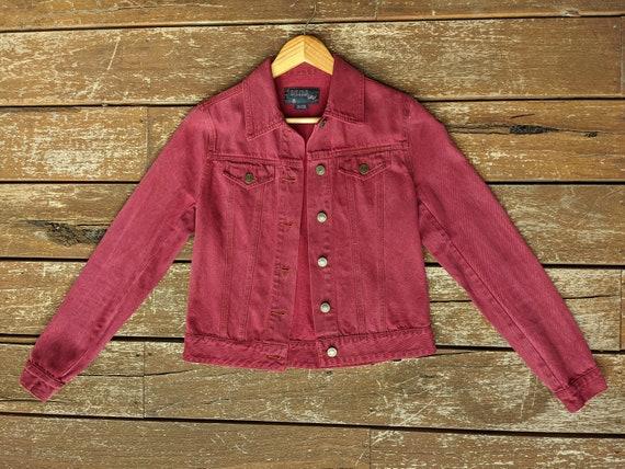 Burgundy Denim Jacket (Sportsgirl)