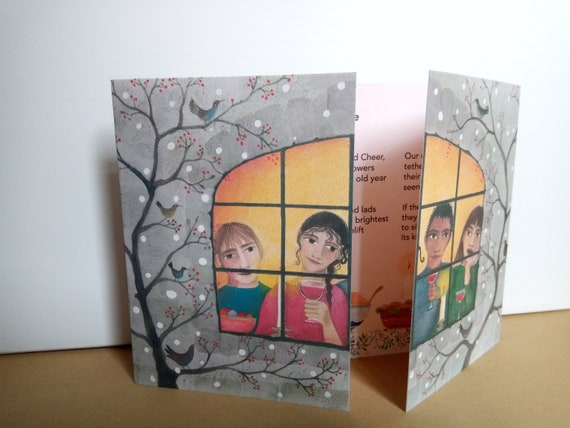 Illustrated Christmas Poetry Card With Carol Ann Duffy Poem Festive Card Greetings Card