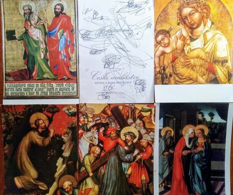 Vintage Set of 14 cards of Gothic and early Renaissance painting  with descriptions in 5 languages from republic of Czechoslovakia 1970s.