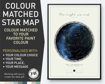 in  Farrow /& Ball Pale Powder colour or your choice of colour Engagement gift Star Map