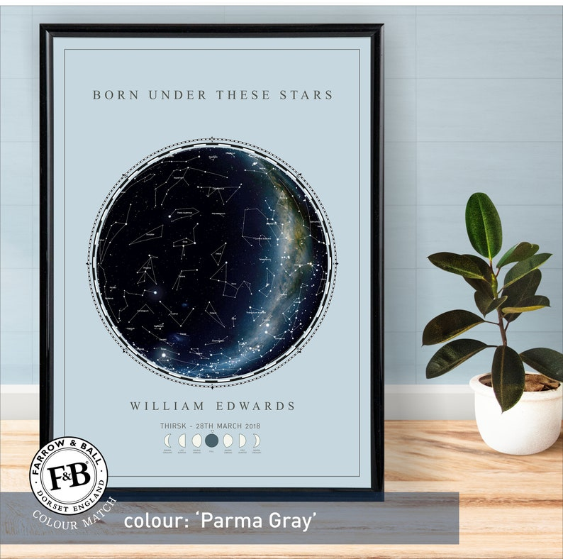 in Farrow /& Ball Borrowed Light colour or your choice of colour Born Under these stars Star Map