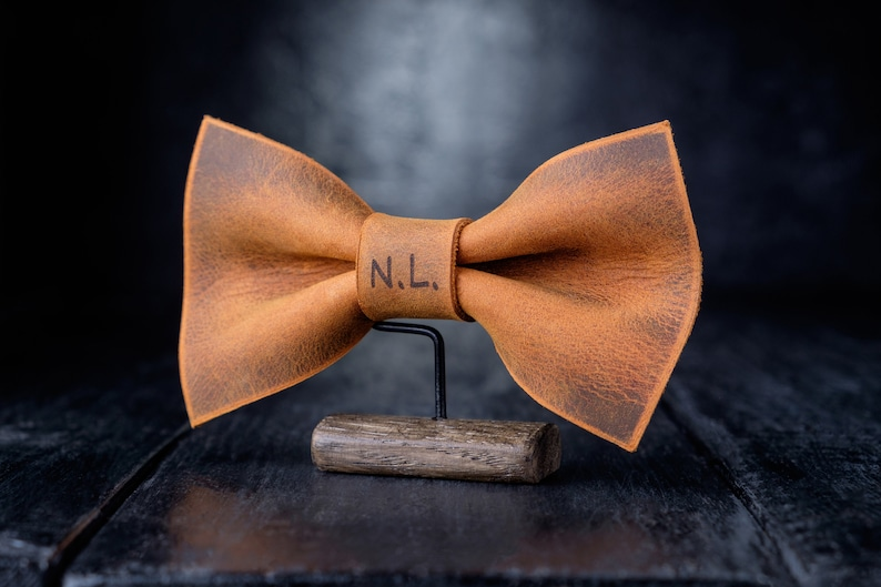 Groomsmen bow tie Leather Bow Tie for Men Leather Copper