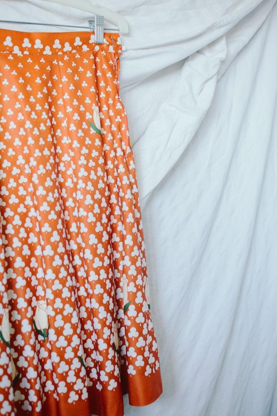 1970s Novelty Print Skirt - Clover and Tulip Nove… - image 2
