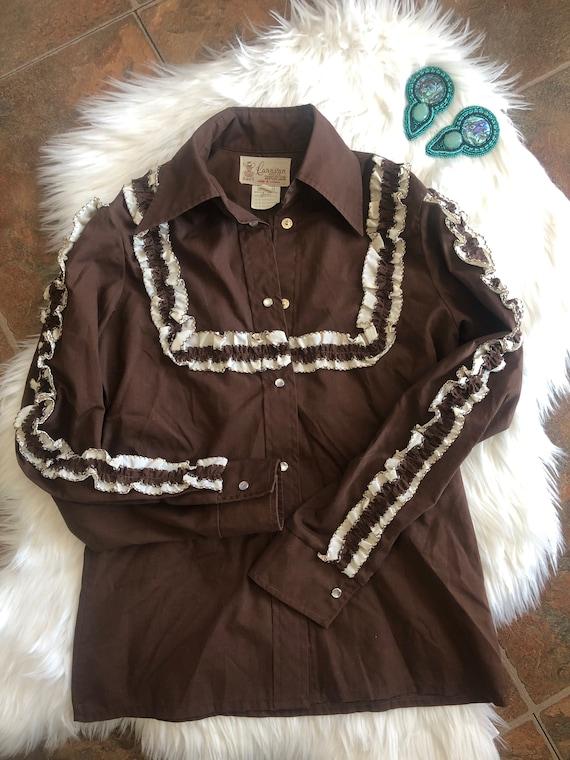 1970s Western Wear Prairie style blouse - Caravan