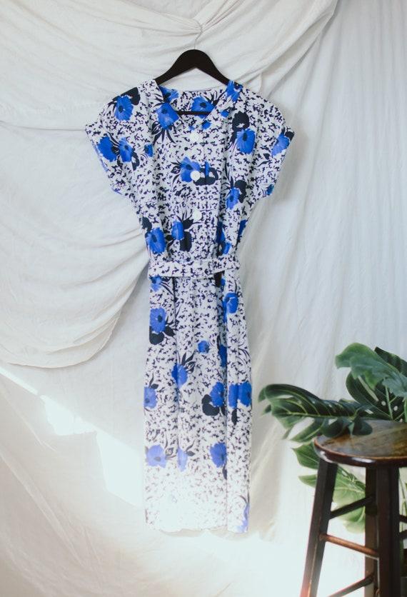 Vintage Floral House Dress - Vintage A-line Dress - image 3