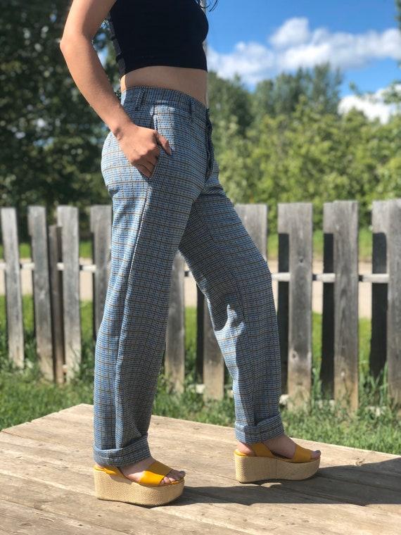 1970s Mid Rise Plaid Trousers - Vintage Boot Cut P