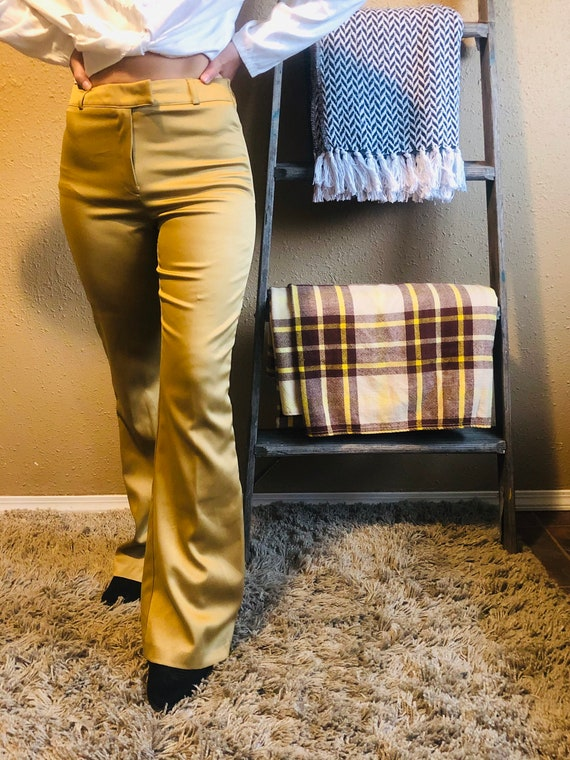 Vintage High Waisted Gold Bell Bottoms