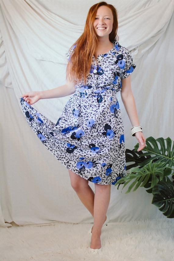 Vintage Floral House Dress - Vintage A-line Dress - image 1