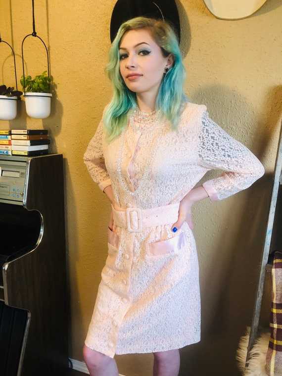Pink Lace Dress - Vintage belted dress