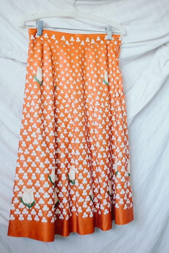 1970s Novelty Print Skirt - Clover and Tulip Novel