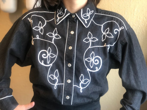 1980's Denim Western Shirt by Robellas - Vintage E