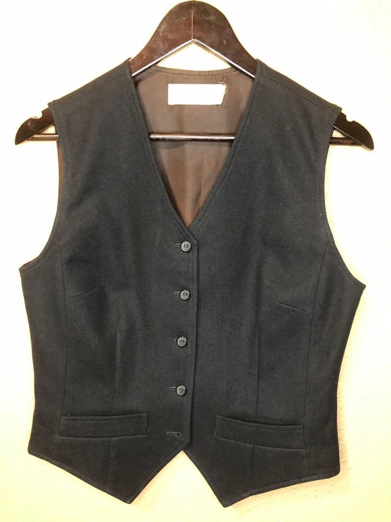 1950/'s Vintage Pendleton Black Wool Button Up Vest