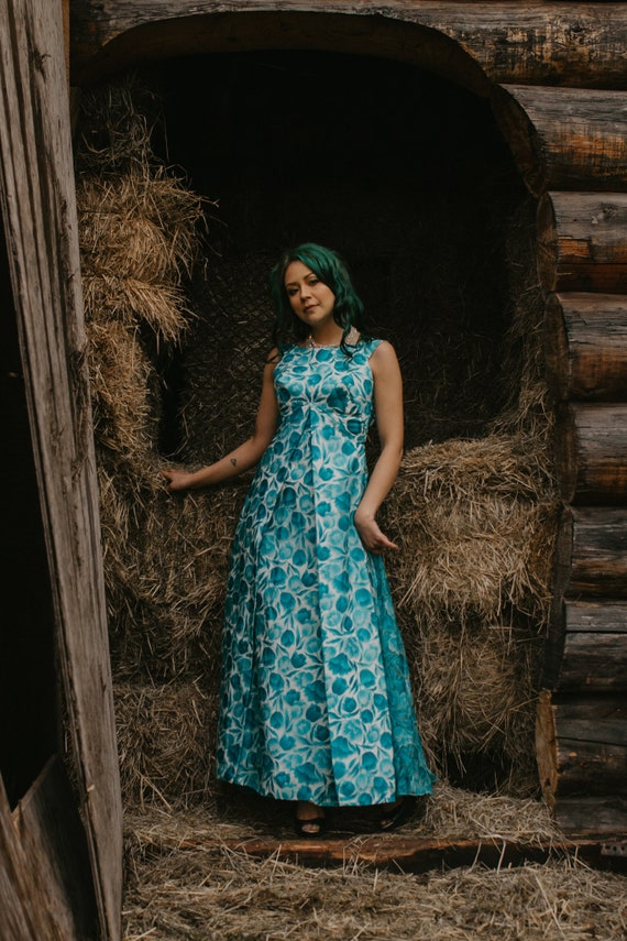 1960's Floral Evening Gown - Teal and White Floral