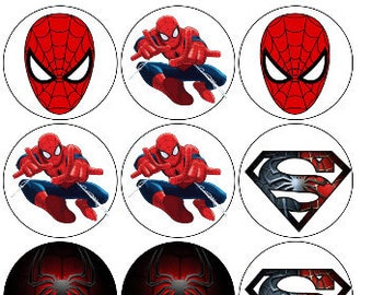 image regarding Free Printable Cupcake Wrappers and Toppers With Spiderman named Edible spiderman Etsy
