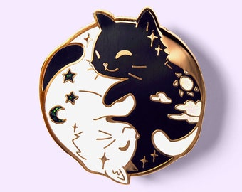 Day and Night Black and White Cats Enamel Pin Gold Plated Hard Lapel Pins Badge Collectible Cute Gift Apron Hat Jacket Ita Bag Itabag