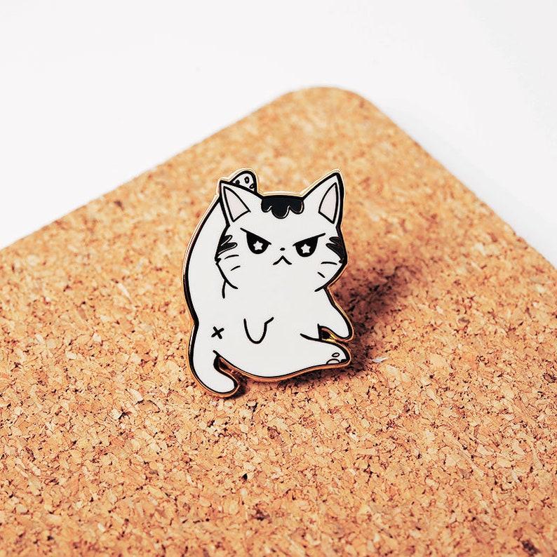 Angry Cat Hard Enamel Pins Gold Plated  Lapel Pin Badge Decoration Accessory For Jackets Hats Itabags Apron   Cute Kawaii Gift Ita Bag Bags