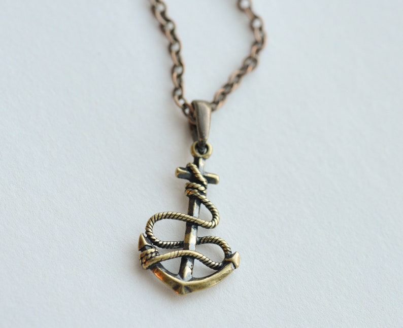 Mens anchor necklace copper brass necklace pendant Mens necklace Punk gift by Dark Dream Jewellery