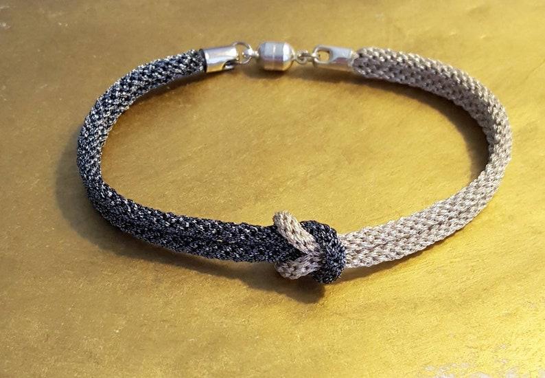 Woven Metallic String Friendship Bracelet Stocking Stuffer Silver and Gunmetal Love Knot Bracelet Ready to Ship Gift for Her