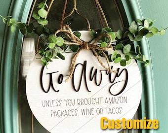 Go away door hanger, front door hanger, wooden wreath, welcomeish, please leave, funny front door decor