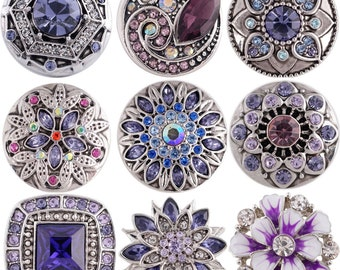 Rose Gold Purple Opal Rhinestone Flower 20mm Snap Charm For Ginger Snaps Jewelry