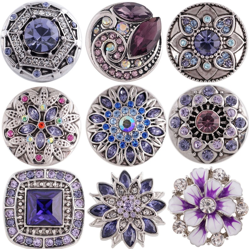 Silver Purple Pink Rhinestone Cluster 20mm Snap Charm Jewelry For Ginger Snaps