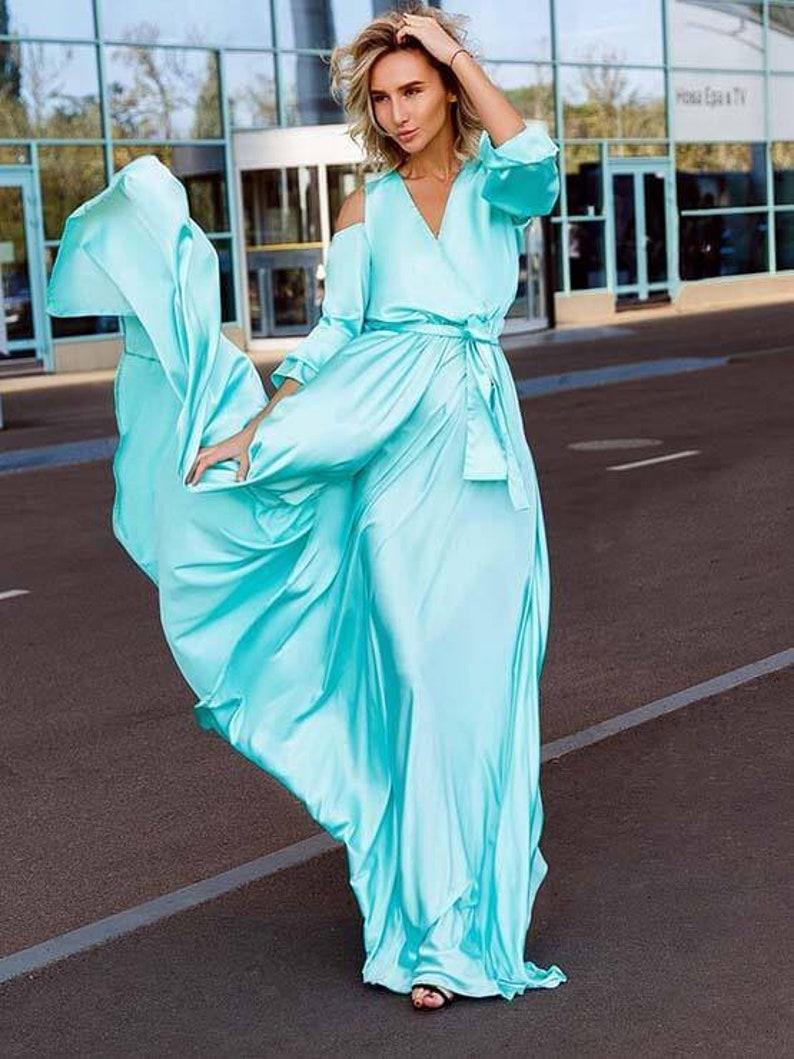 Blue silk maxi dress long maxi dressbridesmaids dress evening dresswedding dress prom dress long sleeve dress wrap dress