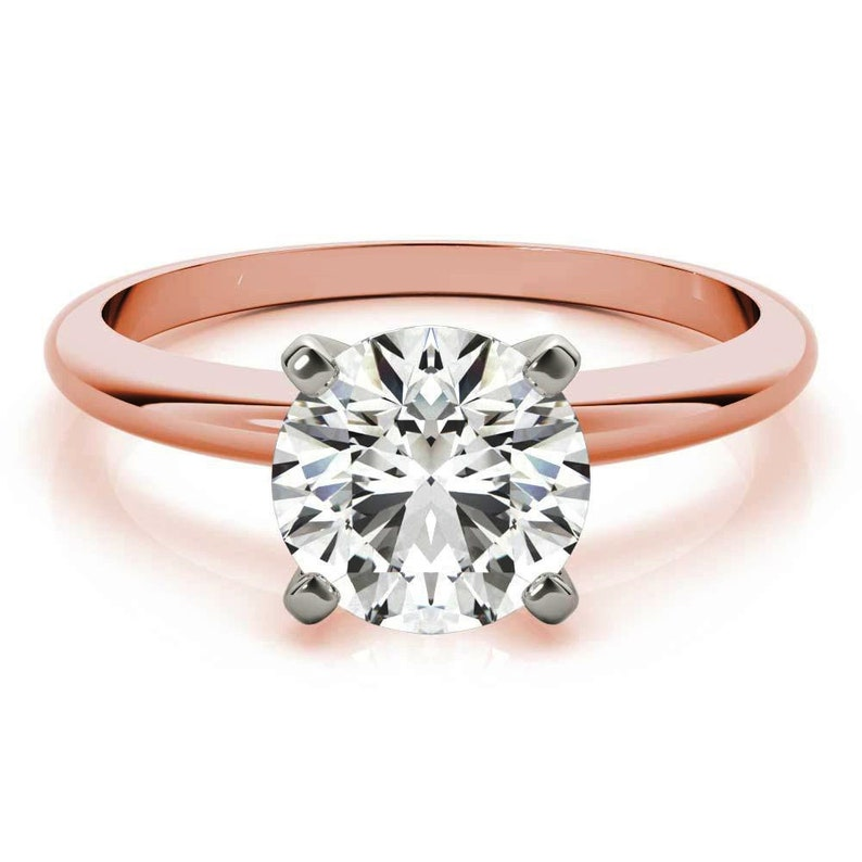 Anniversary Gift Ring 10KT Rose Gold Ring Solitaire Engagement Ring Wedding Ring Moissanite Ring Two Tone Ring 2.00 Ct Round Cut Ring