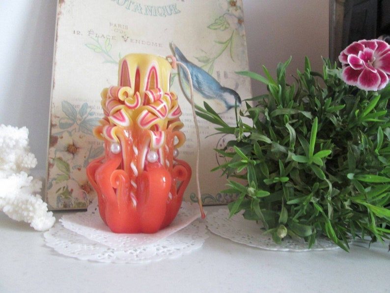 Valentines Day Candle Hand Carved Candle Present for women Present for family