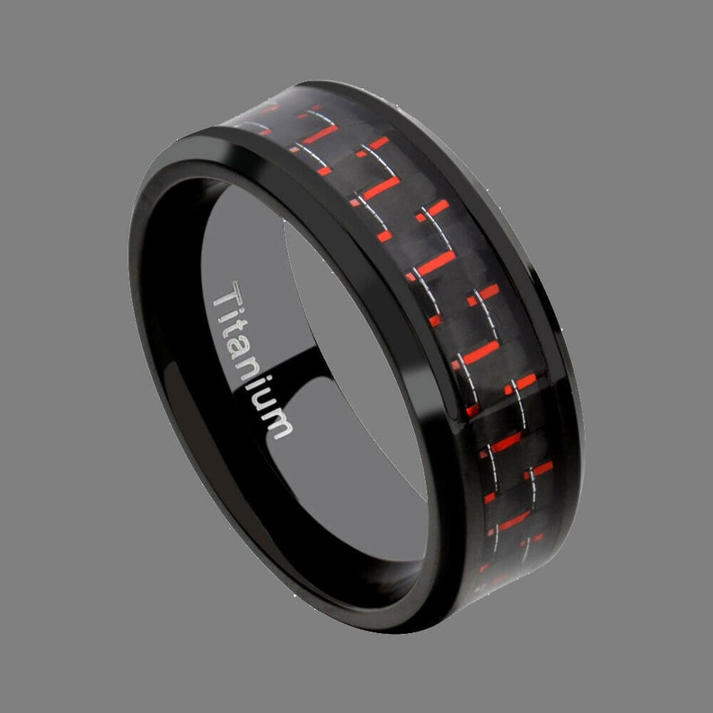 Promise Ring Engagement Ring for Him Mens Black Titanium Red Carbon Fiber Wedding Band Ring in 8mm Width Anniversary Band