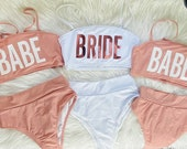 Bachelorette Swimsuits Bachelorette Tube Top Bikini. Pink Bride Bikini. Babe Swimsuit Cheeky High Waisted Bikini Rose Gold. Honeymoon Bikini