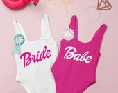 Barbie Bride And Babe Bachelorette Swimsuits Bachelorette Bathing Suits. Bride Swim Suit. Tribe Swimsuit customizable Barbie Swimsuit.