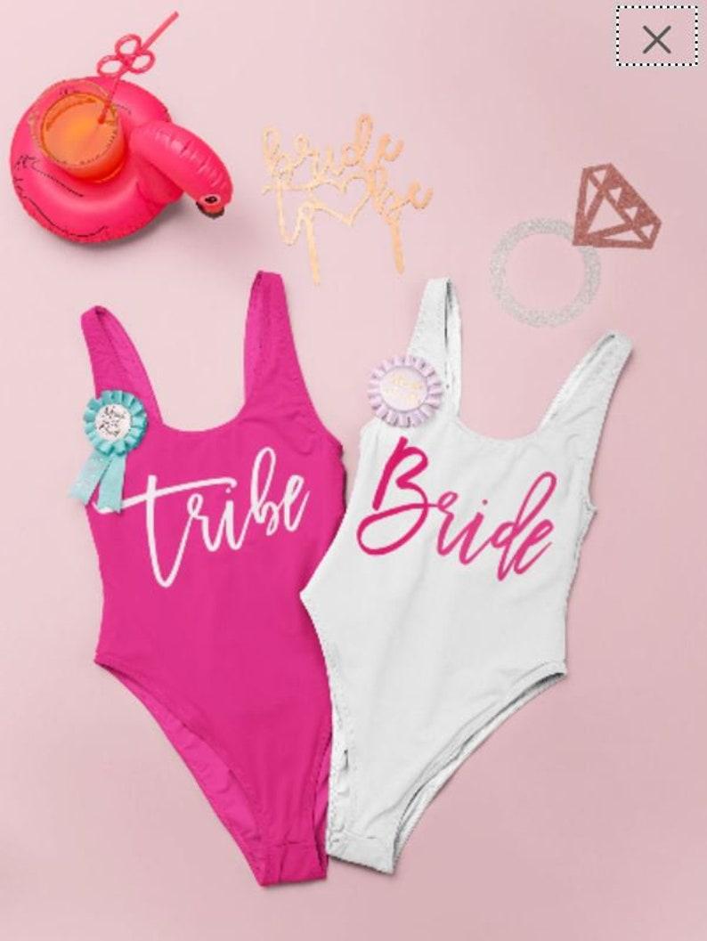 Bachelorette Swimsuits Bachelorette Bathing Suits Retro cut bathingsuit Bride Swim Suit Tribe Swimsuit customizable Barbie Swimsuit
