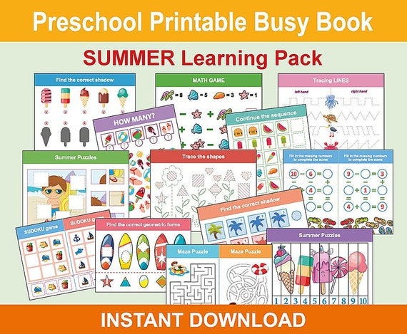 Summer Preschool Printable Busy Book Toddler Learning Pack