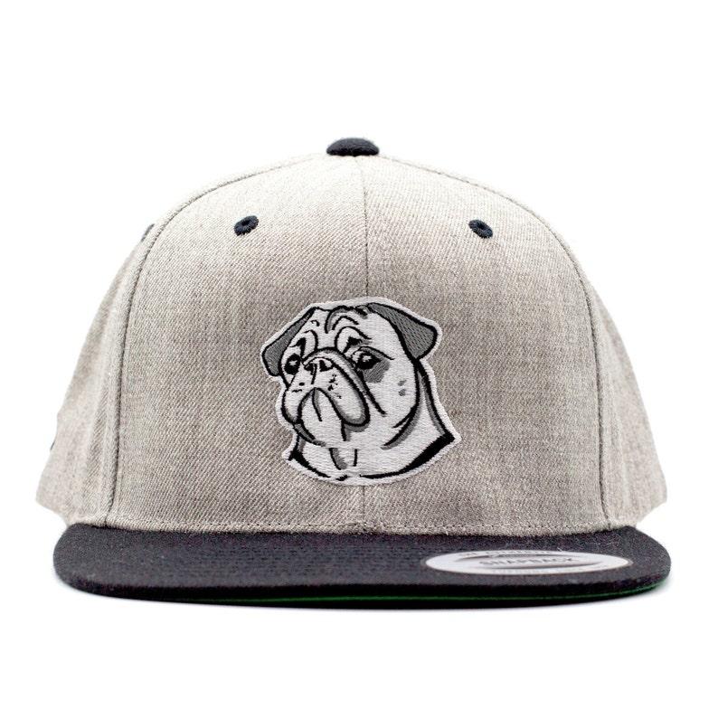 Snapback Cap 2-Tone grey melrated/black with pug image 0