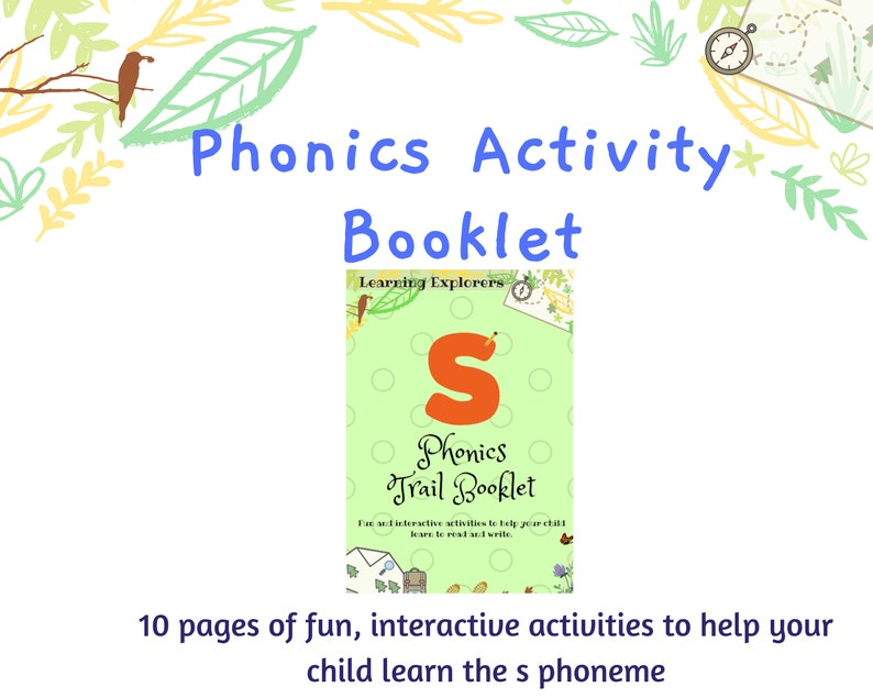 Home School s Phoneme Reading and Writing Games for Children Phonics Activity Booklet Starting School Printable Learn to Read and Write
