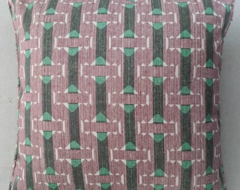 Cushion in pink and green Fermoie fabric