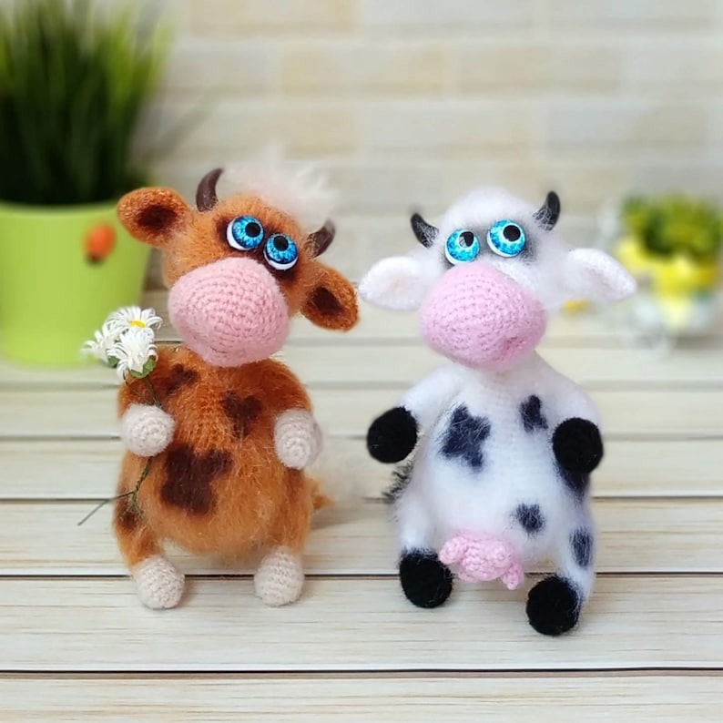 diy digital tutorial PDF pattern Ox and cow Amigurumi crochet pattern Cute crochet pattern cow Fluffy Ox and cow pattern